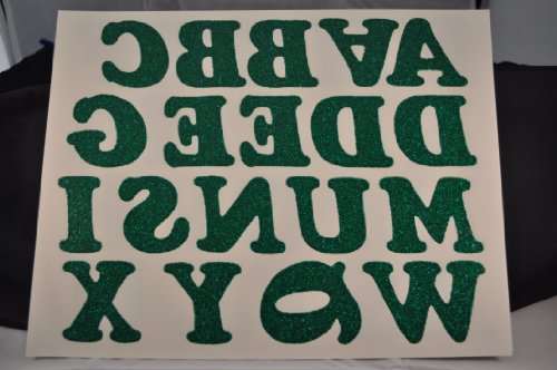 DIY 2-Inch Iron-On Letters in Green Glitter