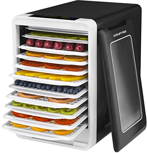 Gourmia GFD1750 Food Dehydrator With Touch Digital Temperature Control, Ten Drying Trays Plus Beef Jerky & Sausage Hanging Rack, Sleek Design, Transparent Window & Free Recipe Book - Black (Food Dehydrators)