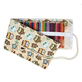 Damero Canvas Colored Pencils Wrap, Roll up Pen Holder Case with Zipper Pouch for Accessories, Cute and Multi-Purpose (NO Pencil Included)