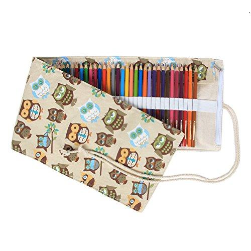 Damero 72 Canvas Colored Pencils Wrap, Roll up Pen Holder Case with Zipper Pouch for Accessories, Cute and Multi-purpose (NO Pencil (Coffee Zipper)