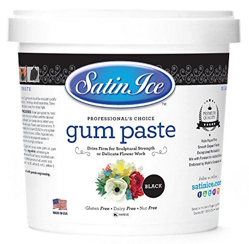 Gum Black (Satin Ice Black Gum Paste, 2 Pounds, Decorative Sugar Icing)