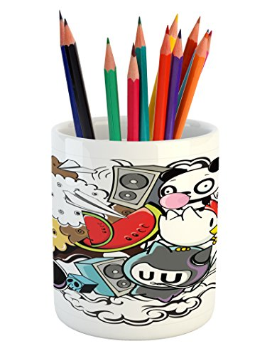 Ambesonne Indie Pencil Pen Holder, Animal and Food Themed Co