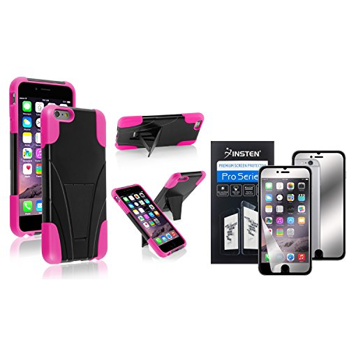 iPhone 6/6s Plus Case, Insten Black/Hot Pink T-Stand Cover Case + Mirror Screen Protector compatible with Apple iPhone 6 Plus (5.5)