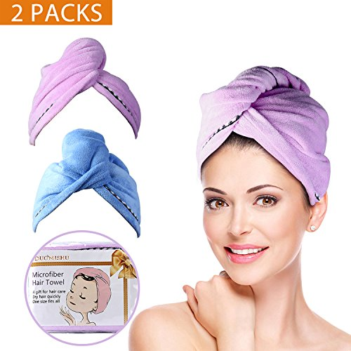 2 Pack Hair Towel Wrap Turban Microfiber Drying Bath Shower Head Towel with Buttons, Quick Magic Dryer, Dry Hair Hat, Wrapped Bath Cap By (Quick Dry Hair Towel)
