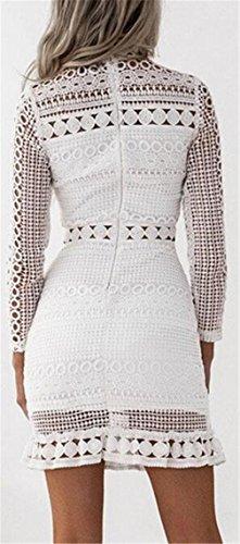 Club Crochet Sleeve Lace Jaycargogo Patchwork Dresses Sexy Womens White Long UwI01