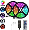 LED Strip Lights, 32.8ft/10M 5050 RGB 300 LEDs Strip Lights Non-Waterproof Rope Lights Color Changing Tape Light Kit with 44 Keys IR Remote Controller for Home Decoration