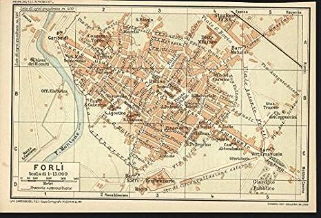Forli Italy Map.Amazon Com Forli Italy 1916 Vintage Color Lithograph City Plan
