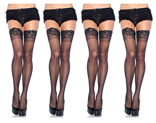 Leg Avenue Women's Thigh High Stockings with Silicone Lace Top, 4-Pair, Plus-Size, Black]()