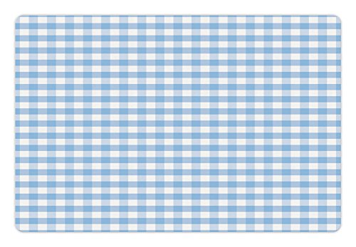 Ambesonne Checkered Pet Mat for Food and Water, Little Squares and Stripes Pastel Color Gingham Repeating Rows Vintage Tile, Non-Slip Rubber Mat for Dogs and Cats, 18
