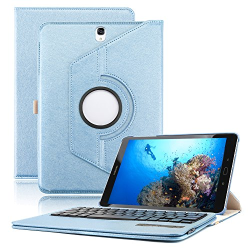 Samsung Galaxy Tab S3 9.7 Keyboard Case, KVAGO Premium 360 Degree Rotating Swivel Case with Deatachable Wireless Bluetooth Keyboard for Samsung Galaxy Tab S3 -Blue