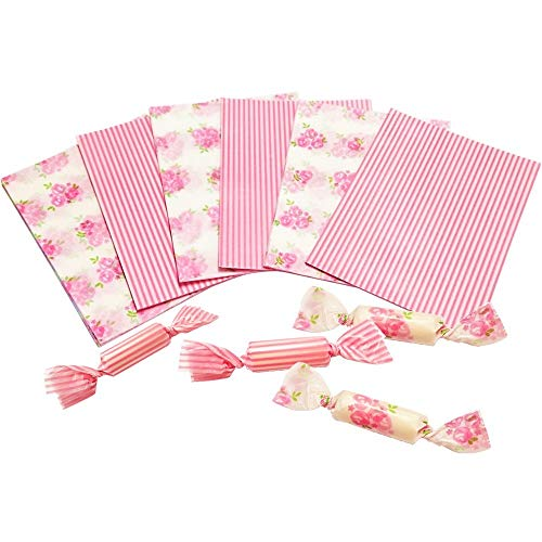 200 Sheets Nougat Candy Wrappers, Stripe and Rose Pattern Wrapping Paper Twisting Wax Paper