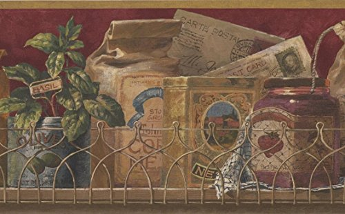 Vintage Spices in Boxes Kitchen Shelf Garnet Red Maroon Wallpaper Border Retro Design, Roll 15' x 9