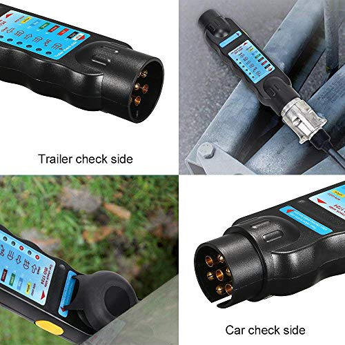 Durable 7 Pin Towing Trailer Car Caravan Tow Bar Light Circuit Tester Unit for Plug Circuit Light Test Tool for European (Fitting A Towbar To A Smart Car)