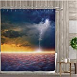 smallfly Nature Bathroom Decor Sets with Hooks Apocalyptic Sky View End of The World Majestic Mystic Sky Solar and Flames Image Shower Curtains Mildew Resistant 96''x72'' Orange Blue