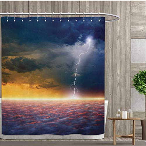 smallfly Nature Bathroom Decor Sets with Hooks Apocalyptic Sky View End of The World Majestic Mystic Sky Solar and Flames Image Shower Curtains Mildew Resistant 96''x72'' Orange Blue by smallfly