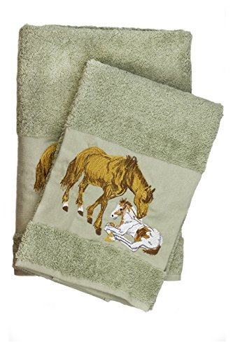 Luxury Horse Embroidered Ecru Bath and Hand Towel 100% Co...