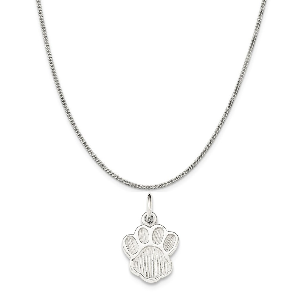 16-20 Mireval Sterling Silver Polished and Textured Paw Print Charm on a Sterling Silver Chain Necklace