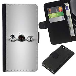 Protector de cuero de la PU de la cubierta del estilo de la carpeta del tirón BY RAYDREAMMM - Apple Iphone 5C - Estrella Soldados Cascos