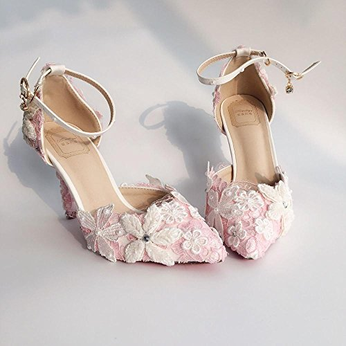 Lace Flower Sandals Shoes Wedding Bride Set Sandals Bag Dress Diamond Pink VIVIOO Heeled Shoes Pearl Pink Prom Pointed Shoes White Blue 4 Shoes Set High Shoes YXxYIZv
