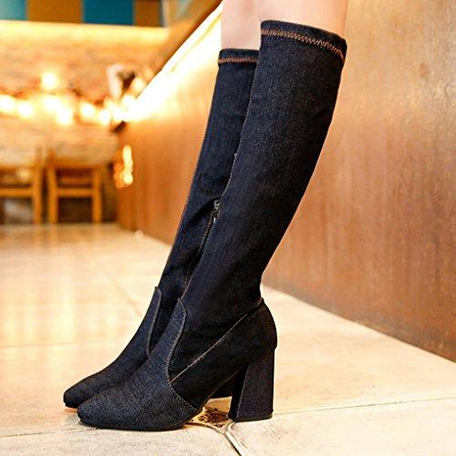 Stivali Invernali Da Donna Inkach | Stivali Alti Da Ginocchio | Scarpe A Punta Tacco Alto | Stivali Da Equitazione Neri