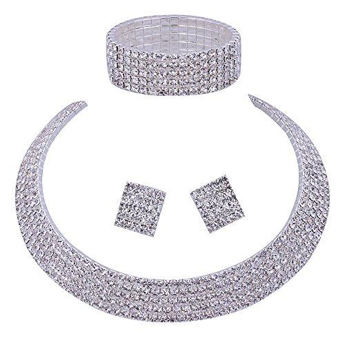 Wedding Bridal 5 Row Rhinestone Crystal Jewellery sets for Women (1 Set Earrings,1 PCS Necklace, 1 PCS Bracelet)