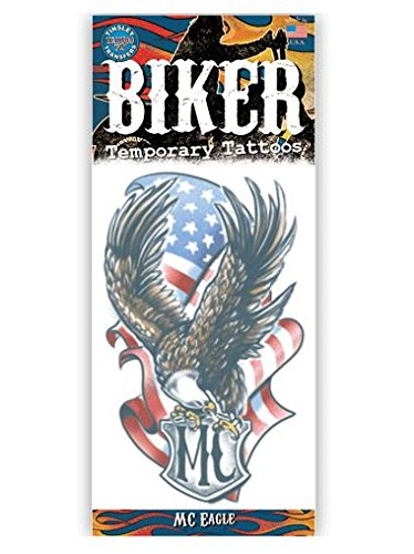 Biker Design Temporary Tattoo- MC Eagle American Flag -