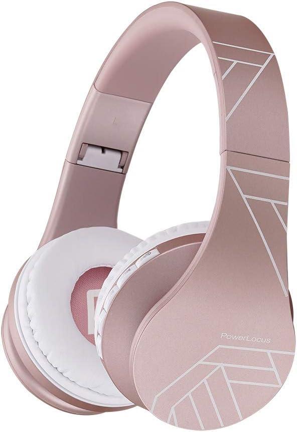 PowerLocus P1 – Auriculares Bluetooth inalambricos de Diadema Cascos Plegables, Casco Bluetooth con Sonido Estéreo con Conexión a Bluetooth Inalámbrico y Audio Cable para Movil,PC,Tablet (Oro Rosa PL)