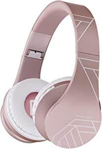 Bluetooth Headphones Over Ear, PowerLocus Bluetooth Headphone Rose Gold, Wireless Headphones Foldable, Hi-Fi Stereo, Soft Memory Foam Earmuffs, Built-in Mic & Wired Mode for iPhone,Android,PC,Laptops