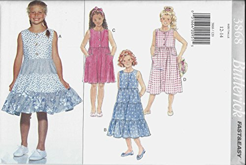 - Butterick Girls' Sleeveless Pullover Dress Sewing Pattern 3868 Size 12, 14