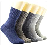 Womens 5 Pairs Vintage Style Winter Warm Thick Knit Wool Cozy Crew Socks (Multicolor 10)