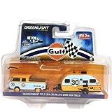 dub model cars - NEW 1:64 GREENLIGHT HITCH & TOW CLUB V-DUB COLLECTION - BLUE ORANGE 1968 VOLKSWAGEN TYPE 2 CREW CAB & 2016 WINNIE DROP TRAILER - GULF Diecast Model Car By Greenlight