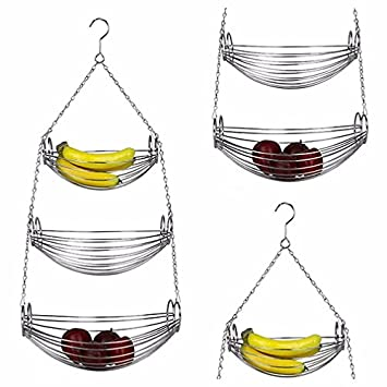 3 Tier Fruit Baskets Hanging Wire Basket Fruit Storage Vegetable Chrome  Holder Round New
