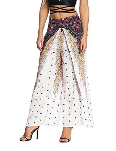 Fiore Eleganti Donna Fashion Sciolto Pantaloni Ragazze White Pantaloni 1 Baggy Estivi Spacco Mare Pantaloni Libero Hippie Vintage Pantaloni Tempo Giovane Aladin Stile Stampa Etnico O0OZvwrq