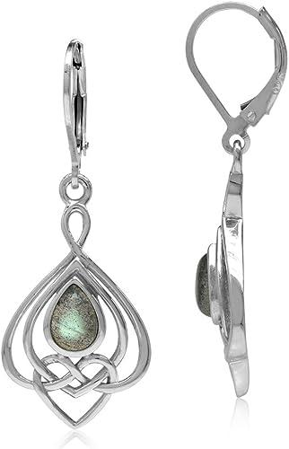 Vintage Style Celtic Jewellery Sterling SILVER Labradorite Stone Drop EARRINGS