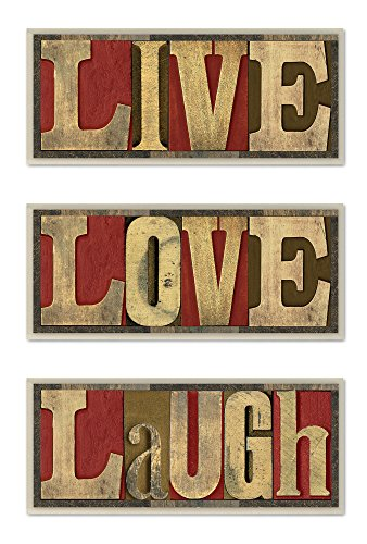 (Stupell Home Décor Live Love Laugh 3-Piece Wall Art Set, 7 x 0.5 x 17, Proudly Made in USA)