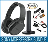 Sony RF995RK Wireless RF Headphones, Zonoz 6FT Stereo Audio Y Cable Splitter & Worldwide Voltage 110V/220V AC Adapter, Zonoz International Two-Prong Round Pin Plug Adapter (Bundle)