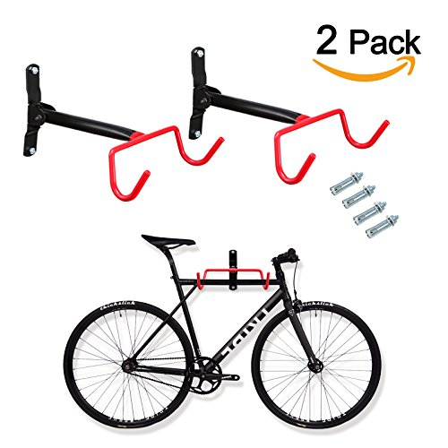 Voilamart 2pcs Bike Wall Mount Hanger - Indoor Storage Rack, Garage Bicycle Holder Hook Folding Space Saver with Screws, 66lb Max Capacity