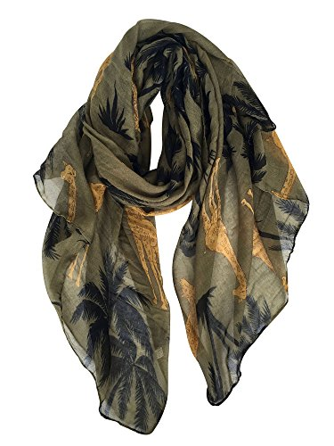 GERINLY Animal Shawl Wrap: Cute Giraffe Printed Scarves For Women (Olive) ()