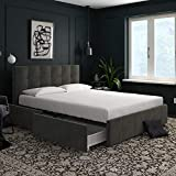 storage bed frame DHP Rose Storage Upholstered Bed, Gray Velvet, Queen