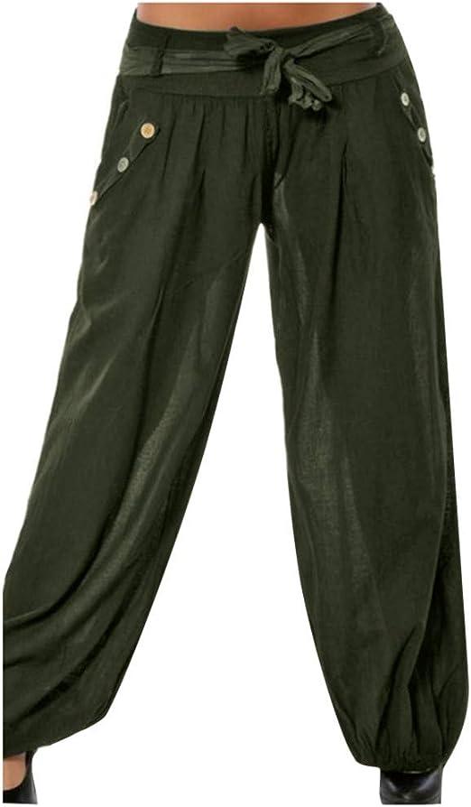 Yours Clothing Womens Plus Size Khaki Green Linen Trousers Wide Leg Casual Pants