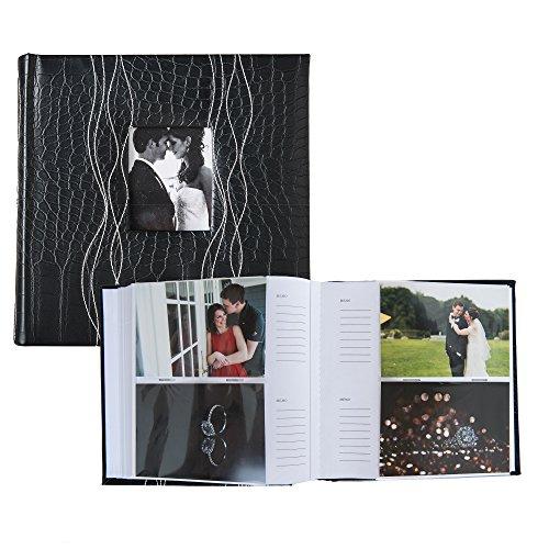 Profolio Photo Albums 200-Pocket Sewn Leatherette Frame Cover Photo Album, Black