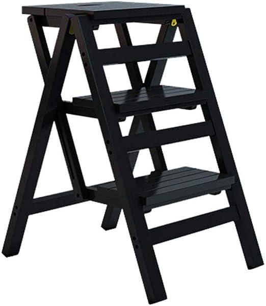 Escalera De Taburete Plegable De 3 Peldaños, Silla De Escalera De Madera para El Hogar Taburete Alto para Niños Y Adultos, Altura De La Herramienta De Jardín En Casa: Amazon.es: Hogar
