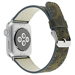 Apple Watch Band, Ekevis Leopard Pattern Printed Leather Replacement Strap Wrist Band For Apple Watch Series 1, Series 2, Series 3 (Yellow, Apple Watch 42mm)