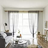 100250 cm Trellis Embroidered Curtains Faux Linen Curtains Rod Pocket Sheer Curtains for Living Room