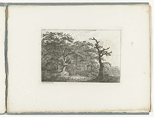 "Classic Art Poster - Wooded Landscape with a resting figure, two hikers and left half dead tree, Friedrich Rauscher, 1788 18.5"" x 24"""
