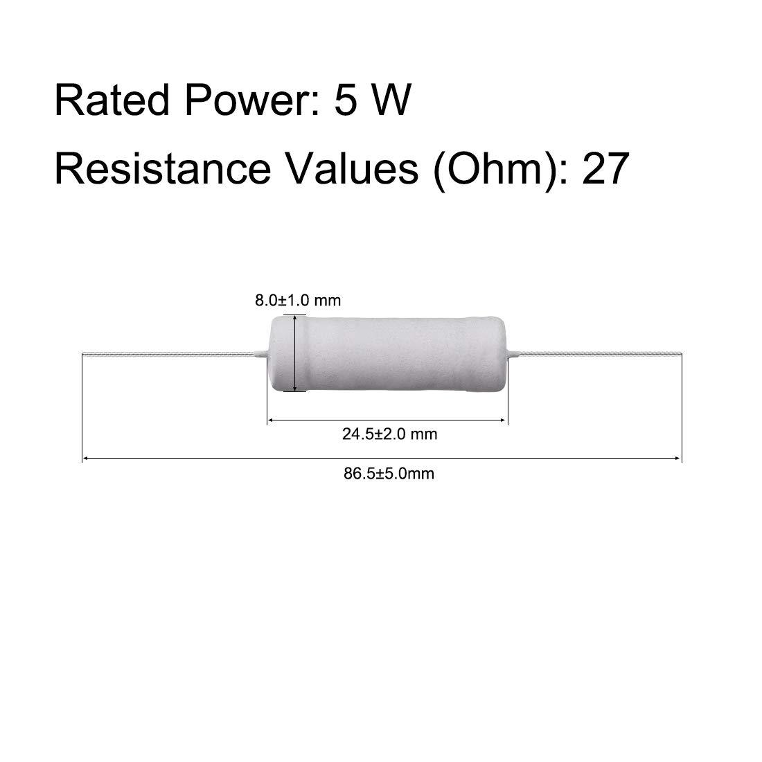 sourcing map 10 Pcs 5W 5 Watt R/ésistance film oxyde m/étallique Pb axial 27 Ohm /±5/% Tol/érance