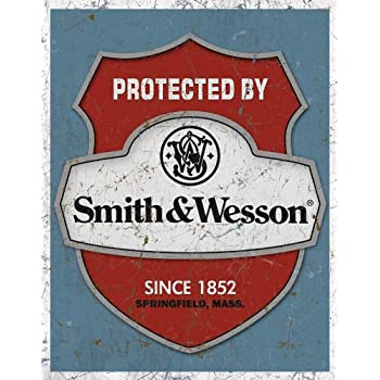 "Smith & Wesson - Protected By Tin Sign 12.5"" X 16"" , 12x16"