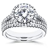Near-Colorless (F-G) Moissanite and Halo Diamond Bridal Set 2 7/8 CTW 14k White Gold