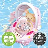 Nai-B Hamster Inflatable Float Ring with Sunshade, Swim Tube for Kids. Teach Children to Be Familiar with Water & Have Fun While Playing in Pool. Enjoy Swimming with Safety Waist Floating Ring. [Pink]