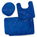 Bathroom Rug Mat Set 4-Piece Memory Foam - Extra Soft Anti-Slip Shower Large Bath Rugs – Perfect Combination of Luxury and Comfort - Blue Dolphins